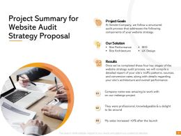 Project Summary For Website Audit Strategy Proposal Ppt Powerpoint Introduction
