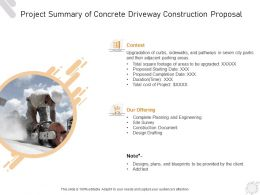Project Summary Of Concrete Driveway Construction Proposal Ppt Powerpoint Presentation Show