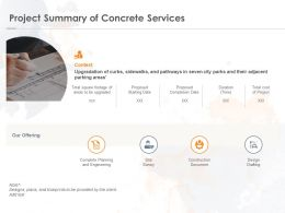 Project Summary Of Concrete Services Ppt Powerpoint Presentation Slides Example File