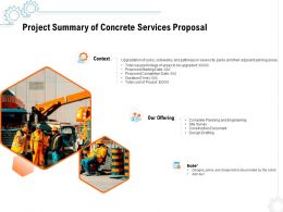 Project Summary Of Concrete Services Proposal Ppt Powerpoint Presentation Icon Template