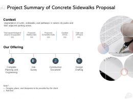Project Summary Of Concrete Sidewalks Proposal Ppt Powerpoint Presentation Template