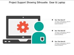 Project Support Showing Silhouette Gear And Laptop