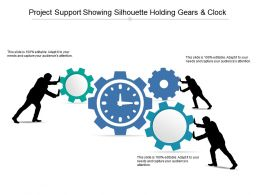Project Support Showing Silhouette Holding Gears And Clock
