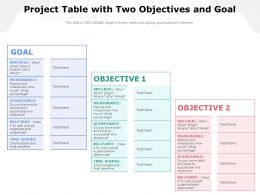 Project Table With Two Objectives And Goal