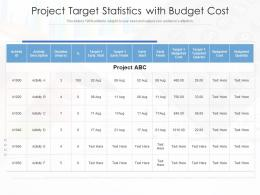 Project Target Statistics With Budget Cost