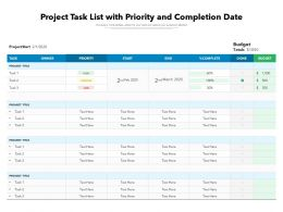 Project Task List With Priority And Completion Date
