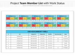 Project Team Member List With Work Status
