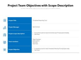 Project Team Objectives With Scope Description