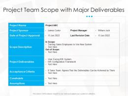 Project Team Scope With Major Deliverables