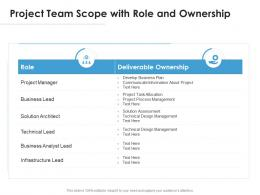 Project Team Scope With Role And Ownership