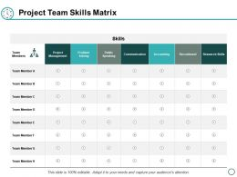 Project Team Skills Matrix Ppt Powerpoint Presentation Layouts Background Designs