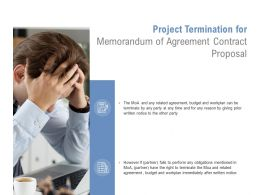 Project Termination For Memorandum Of Agreement Contract Proposal Ppt Styles