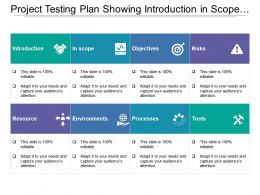 Project Testing Plan Showing Introduction In Scope And Objective