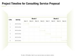 Project Timeline For Consulting Service Proposal Ppt Powerpoint Presentation Slides Ideas