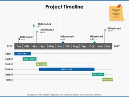 Project Timeline Milestone Ppt Powerpoint Presentation Icon Summary