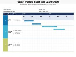 Project Tracking Sheet With Gannt Charts