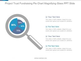 Project Trust Fundraising Pie Chart Magnifying Glass Ppt Slide
