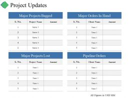 Project Updates Ppt Summary Guidelines