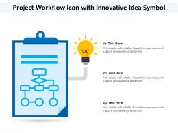 Project Workflow Icon With Innovative Idea Symbol