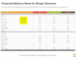 Projected Balance Sheet For Burger Business Ppt Powerpoint Presentation Inspiration Maker