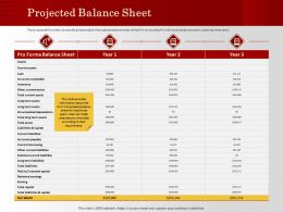 Projected Balance Sheet Subtotal Current Ppt Powerpoint Presentation Layouts Backgrounds