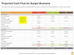 Projected Cash Flow For Burger Business Ppt Powerpoint Presentation Icon Aids