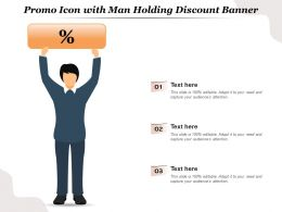 Promo Icon With Man Holding Discount Banner