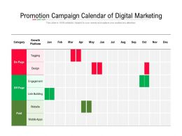 Promotion Campaign Calendar Of Digital Marketing