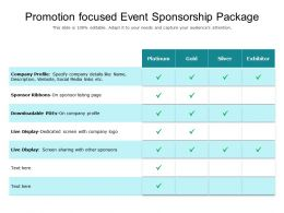Promotion Focused Event Sponsorship Package