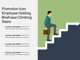 Promotion Icon Employee Holding Briefcase Climbing Stairs