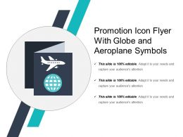Promotion Icon Flyer With Globe And Aeroplane Symbols