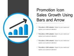 Promotion Icon Sales Growth Using Bars And Arrow