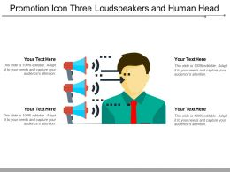 Promotion Icon Three Loudspeakers And Human Head