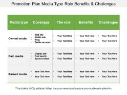 Promotion Plan Media Type Role Benefits And Challenges