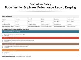 Promotion Policy Document For Employee Performance Record Keeping
