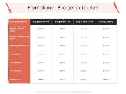 Promotional Budget In Tourism Hotel Management Industry Ppt Infographics