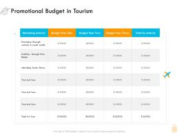 Promotional Budget In Tourism Ppt Powerpoint Presentation Ideas Gridlines