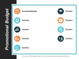 Promotional Budget Ppt Powerpoint Presentation Professional Clipart Cpb