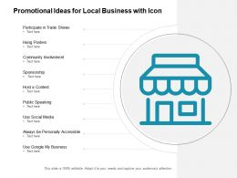 Promotional Ideas For Local Business With Icon
