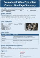 Promotional Video Production Contract One Page Summary Presentation Report Infographic PPT PDF Document