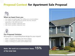 Proposal Context For Apartment Sale Proposal Ppt Powerpoint Presentation Design Ideas