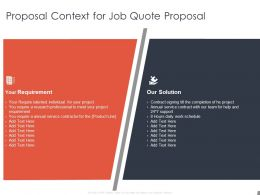Proposal Context For Job Quote Proposal Requirement  Ppt Powerpoint Slides