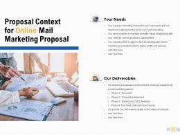 Proposal Context For Online Mail Marketing Proposal Deliverables Ppt Slides