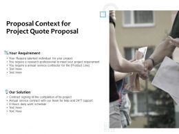 Proposal Context For Project Quote Proposal Ppt Powerpoint Presentation Gallery Guide