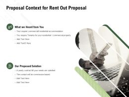 Proposal Context For Rent Out Proposal Ppt Powerpoint Presentation Slides Design Ideas