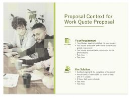 Proposal Context For Work Quote Proposal Ppt Powerpoint Presentation Summary Designs Download
