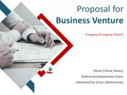 Proposal For Business Venture Powerpoint Presentation Slides