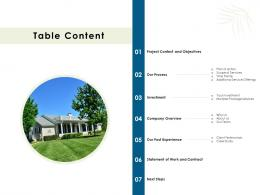 Proposal For Commercial Lawn Upkeeping Table Content Ppt Powerpoint Presentation File Design