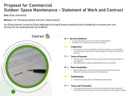 Proposal For Commercial Outdoor Space Maintenance Statement Of Work And Contract Ppt Show
