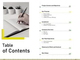 Proposal For Commercial Outdoor Space Maintenance Table Of Contents Ppt Powerpoint Objects